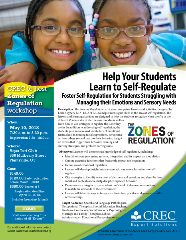 CREC to host Zones of Regulation Workshop. May 10, 2018. Visit CREC's website for more information.